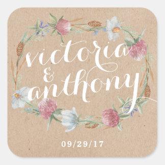 Grinalda do Wildflower no casamento do país de Adesivo Quadrado