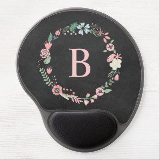 Grinalda floral do monograma do quadro do vintage mouse pad em gel