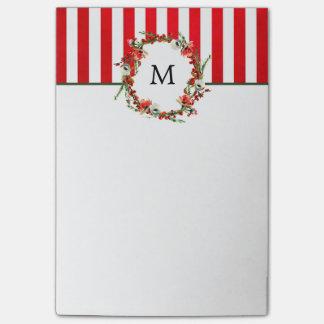 Grinalda floral do Natal e listras vermelhas Post-it Notes