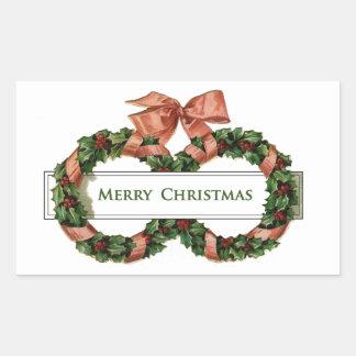 Grinaldas do natal vintage adesivos em forma retangular