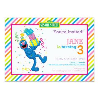 Grover listrou o aniversário convite 12.7 x 17.78cm