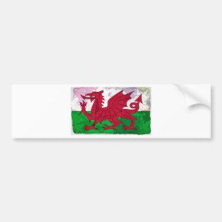 Grunge da bandeira de Galês Adesivo Para Carro