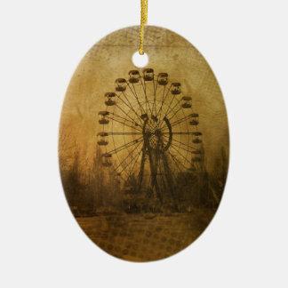 Grunge da roda de Farris Ornamento De Cerâmica Oval