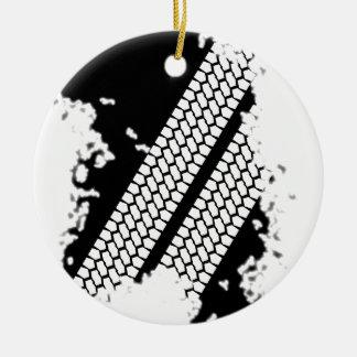 Grunge do passo do pneumático ornamento de cerâmica redondo