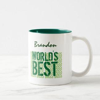 Grunge do verde do chefe do mundo o melhor que rot caneca dois tons