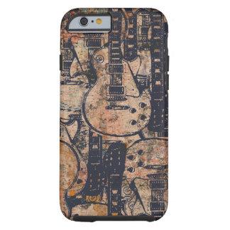 Grunge preto da colagem da guitarra capa tough para iPhone 6