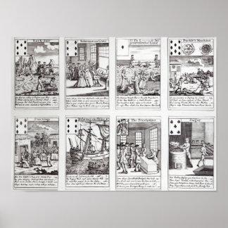 Grupo de descrição dos cartões de jogo Satirical Poster