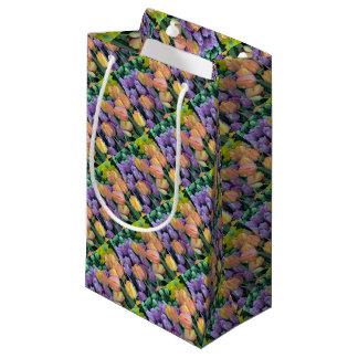 Grupo de tulipas coloridas sacola para presentes pequena