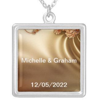 Grupo do casamento do caramelo colar banhado a prata