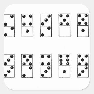 grupo retro do vintage de dominós adesivo quadrado