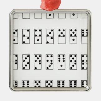 grupo retro do vintage de dominós ornamento quadrado cor prata