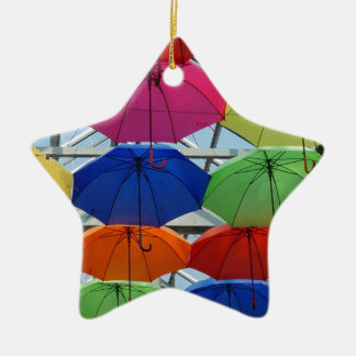 Guarda-chuva colorido ornamento de cerâmica estrela
