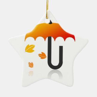 Guarda-chuva e folhas ornamento de cerâmica