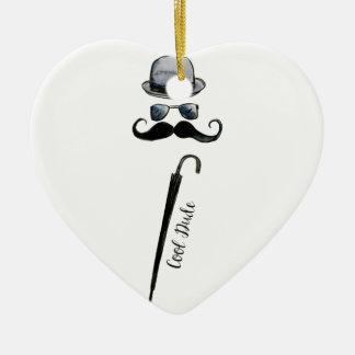 """Guarda-chuva """"gajo legal """" do bigode do chapéu do ornamento de cerâmica coração"""