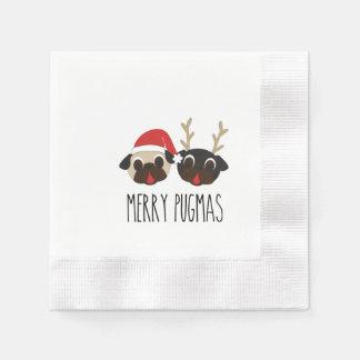 Guardanapo alegres do Pug do Natal de Pugmas
