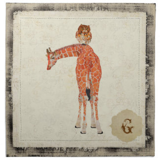 Guardanapo ambarino do girafa da coruja