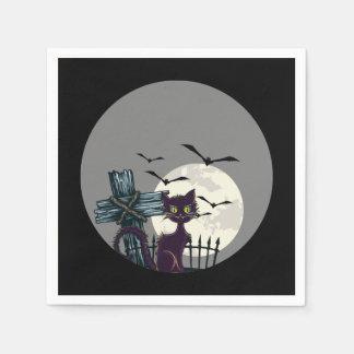 """Guardanapo assustadores da """"Lua cheia"""" do gato"""