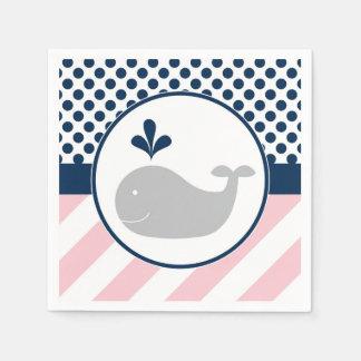 Guardanapo cor-de-rosa do chá de fraldas da baleia