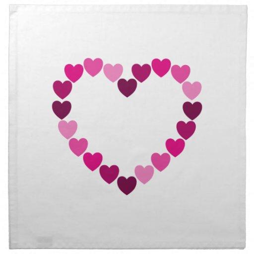 Guardanapo cor-de-rosa do coração dos corações