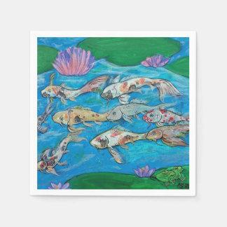 Guardanapo da lagoa dos peixes e do sapo de Koi