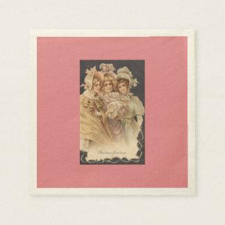 Guardanapo das mulheres do vintage do feriado do guardanapos de papel