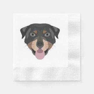 Guardanapo De Papel A ilustração persegue a cara Rottweiler