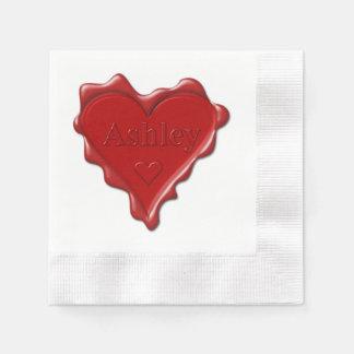 Guardanapo De Papel Ashley. Selo vermelho da cera do coração com