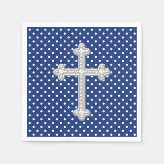 Guardanapo De Papel Batismo transversal dos azuis marinhos