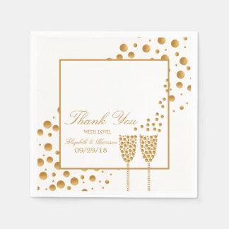 Guardanapo De Papel Bolhas de Champagne do ouro que Wedding