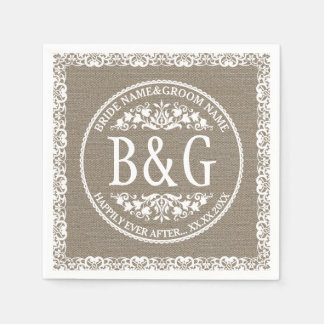 Guardanapo De Papel Bride&Groom personalizado Burlap&Lace