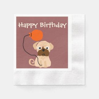 Guardanapo De Papel Cão engraçado do Pug com balão