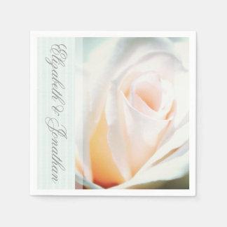 Guardanapo De Papel Casamento da fita do rosa branco e da hortelã
