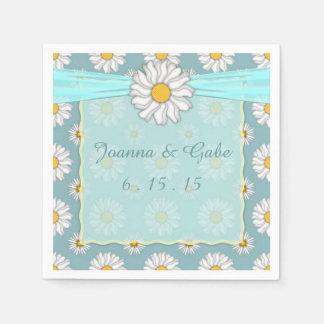 Guardanapo De Papel Casamento floral da margarida amarela branca da