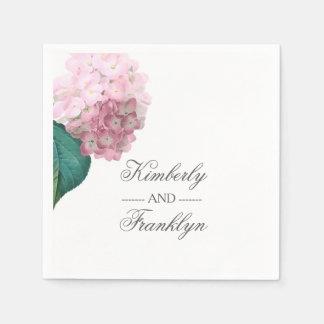 Guardanapo De Papel Casamento floral do Hydrangea cor-de-rosa