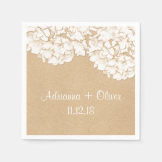 Guardanapo De Papel Casamento floral dos Hydrangeas rústicos