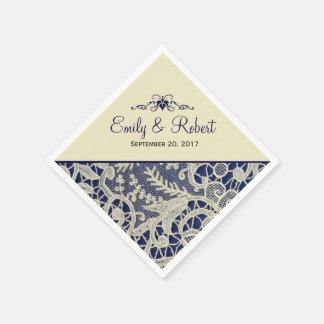 Guardanapo De Papel Casamento formal elegante dos azuis marinhos do