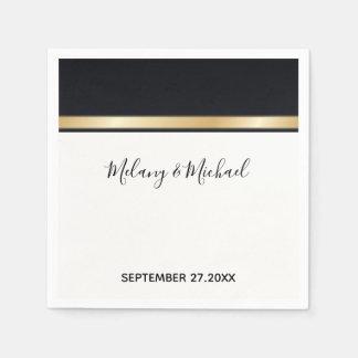 Guardanapo De Papel Casamento preto chique moderno elegante do branco