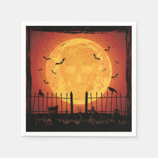 Guardanapo De Papel Cemitério do Dia das Bruxas, crânio na lua,
