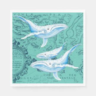 Guardanapo De Papel Cerceta da família das baleias azuis