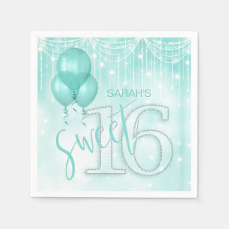 Guardanapo De Papel Cerceta ID473 do doce 16 das luzes & dos balões da
