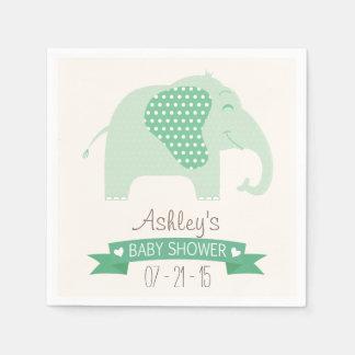 Guardanapo De Papel Chá de fraldas verde do elefante do bebê da