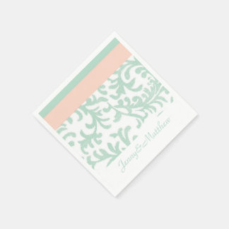 Guardanapo De Papel Damasco floral da hortelã e do pêssego
