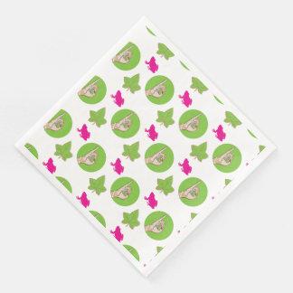 Guardanapo De Papel De Jantar Sapo cor-de-rosa e verde