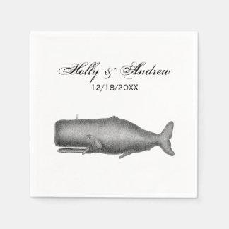 Guardanapo De Papel Desenho do século XIX da baleia do vintage