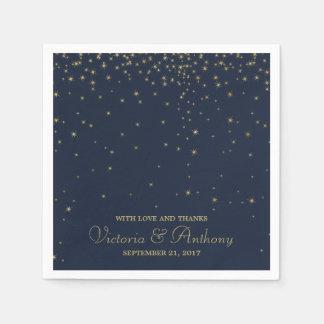Guardanapo De Papel Estrelas de queda elegantes do marinho & do ouro