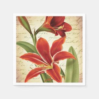 Guardanapo De Papel Flor vermelha do Natal do Amaryllis botânica
