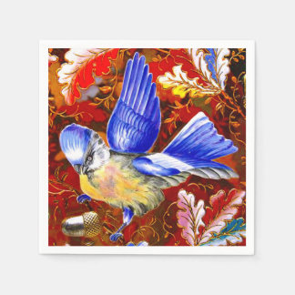 Guardanapo De Papel Folhas azuis grandes da queda do Bluebird do