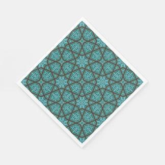 Guardanapo De Papel Geométrico árabe egípcio no azul e no cinza do