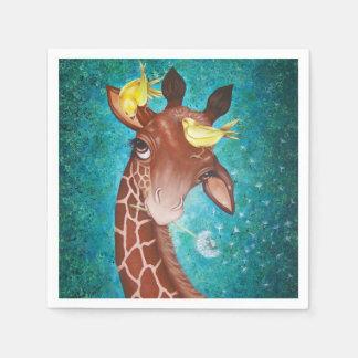 Guardanapo De Papel Girafa bonito com pássaros