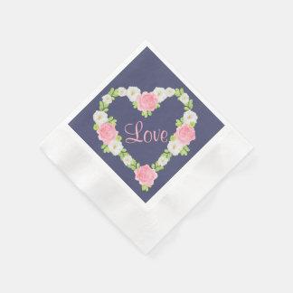 Guardanapo De Papel Grinalda floral do coração dos namorados da